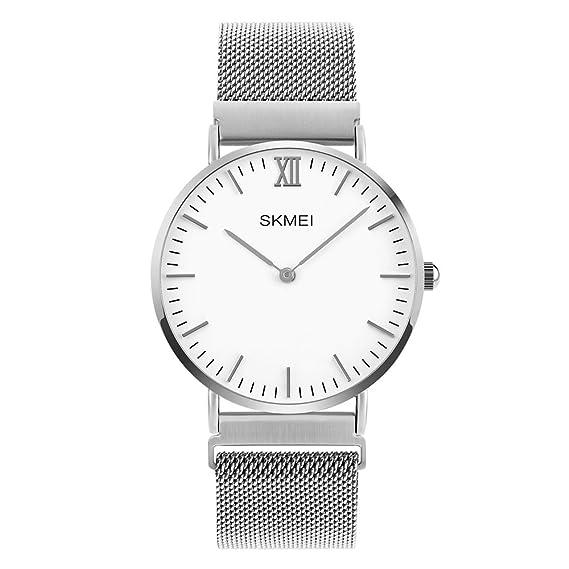 Los amantes de la correa de acero relojes moda de malla para mujer pulsera reloj de