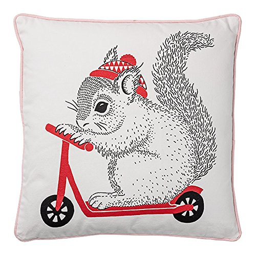 Bloomingville Squirrel on Red Scooter Pillow with Pink Polka Dot Back
