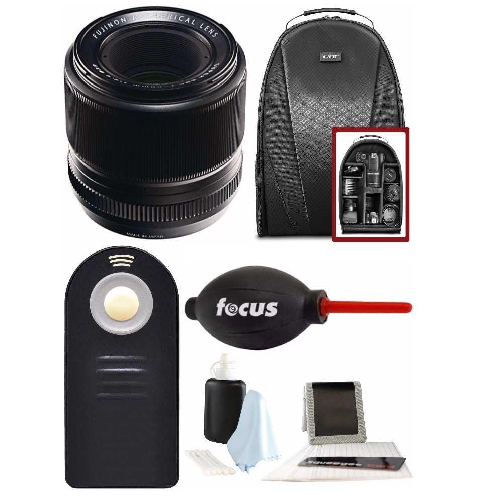 Fujifilm 60 mm f / 2.4 XFマクロレンズW /フォーカスアクセサリーキット&カメラバックパックバンドル   B076JHB7HP