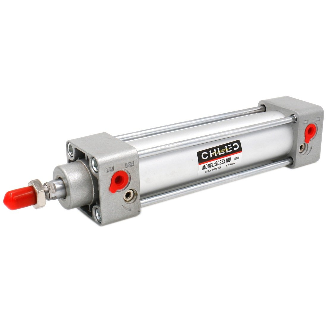 Baomain Pneumatic Air Cylinder SC 32 x 100 PT 1/8, Bore: 1 1/4 inch, Stroke: 4 inch, Screwed Piston Rod Dual Action 1 MPA CHLED
