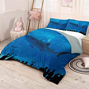 HELLOLEON Shark Pure Bedding Hotel Luxury Bed Linen Japanese Aquarium Park with People Silhouettes Watching Underwater Life Hobby Image Polyester - Soft and Breathable (Twin) Blue Black