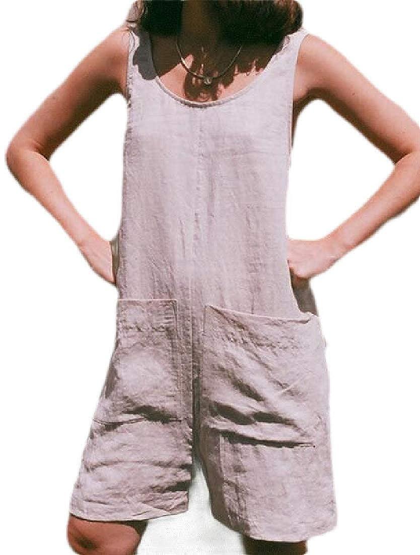 Rrive Women Overalls Bib Pockets Linen Fashion Sleeveless Romper Jumpsuits