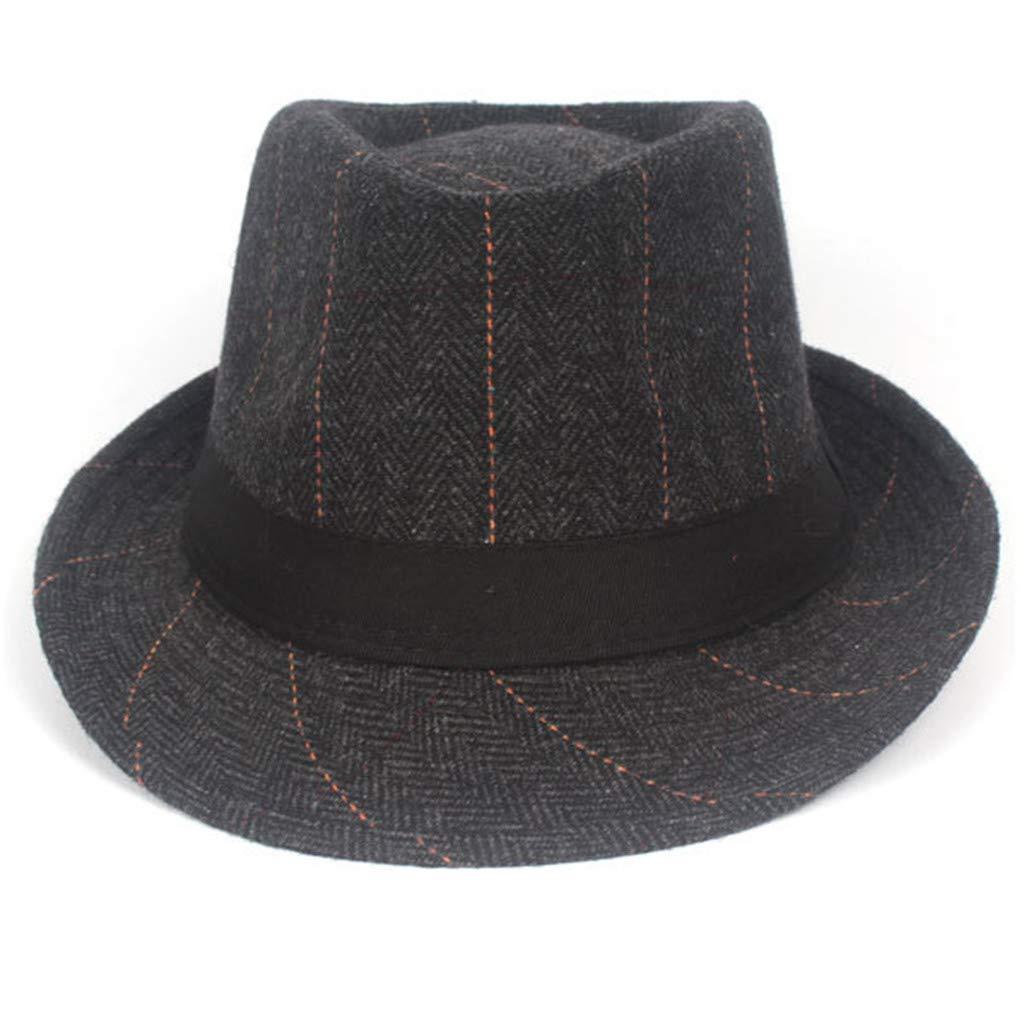 WDM Black Grey Vintage Herringbone Gangster Hat Felt Hat Tweed Flat Cap Mens Fedora Hat