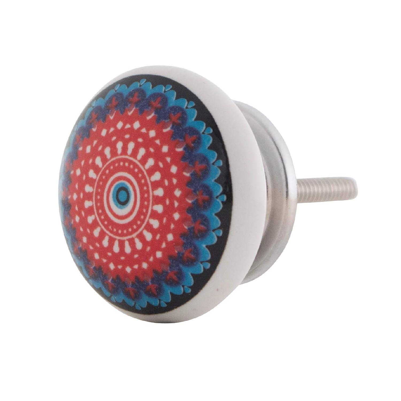 Knober M/öbelknopf Keramik Porzellan Knauf Schrankgriff Bedruckt Manadala Energy Bunt 01