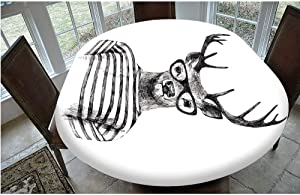 """Stain Resistant Elastic Edged Table cover,Dressed up Reindeer Headed Human Hipster Style with Glasses Stripped Shirt Table cloth,Fits Oval/Olbong Tables 48x68"""",for Kitchen Dinning Tabletop Decoration"""