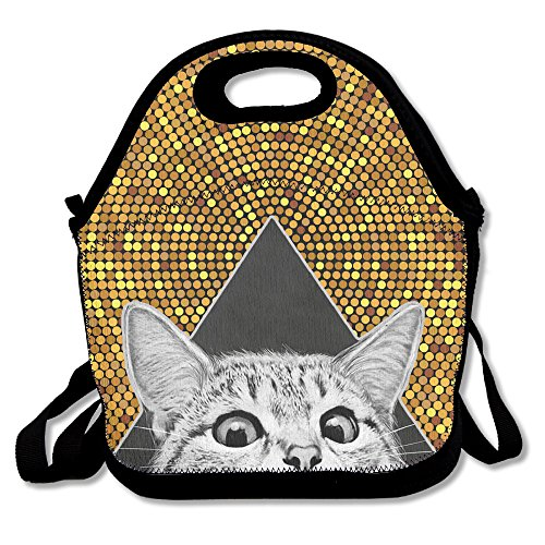 Cat Is Watching You Picnic Lunch Bag Lunch Tote Cooler - Star Ferries Golden