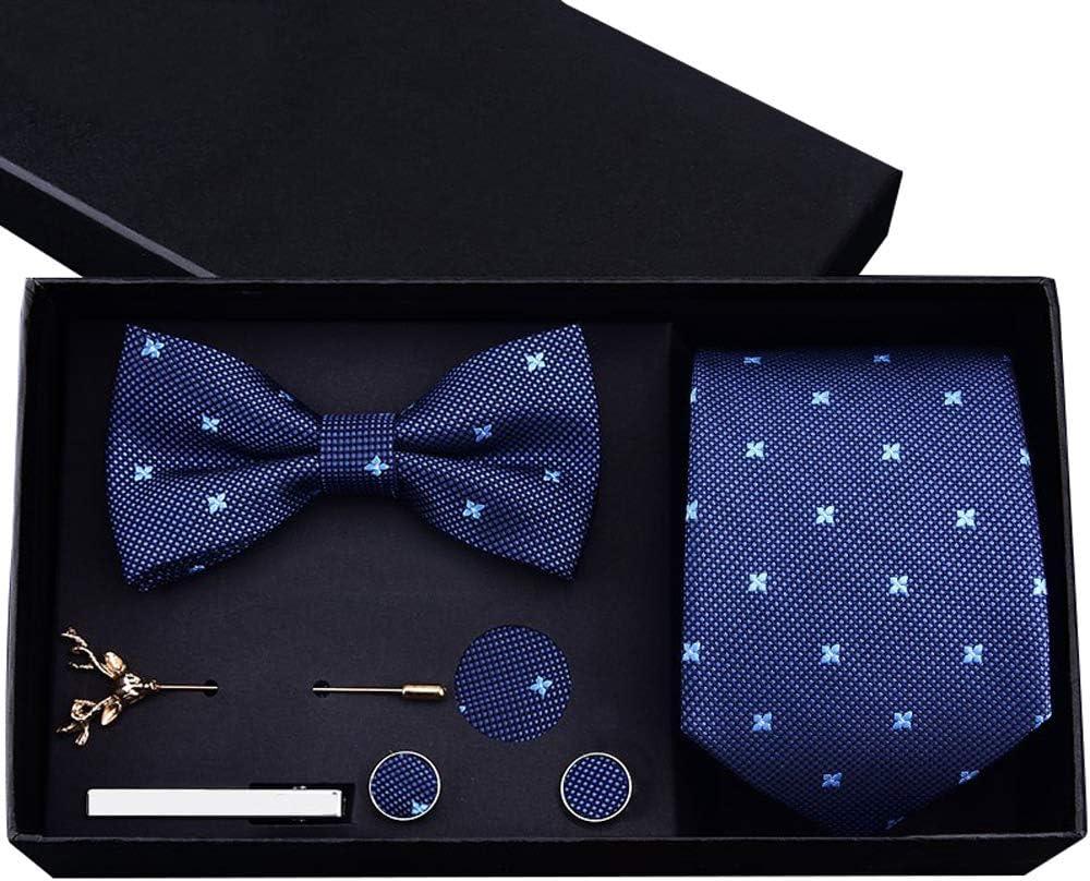Hoolnb Men S Formal Business 8cm Collar Tie Knot Pocket Towel Brooch Tie Clip Set Dark Blue For Formal Wedding Business Party Gift Black Gift Box Amazon Co Uk Kitchen Home