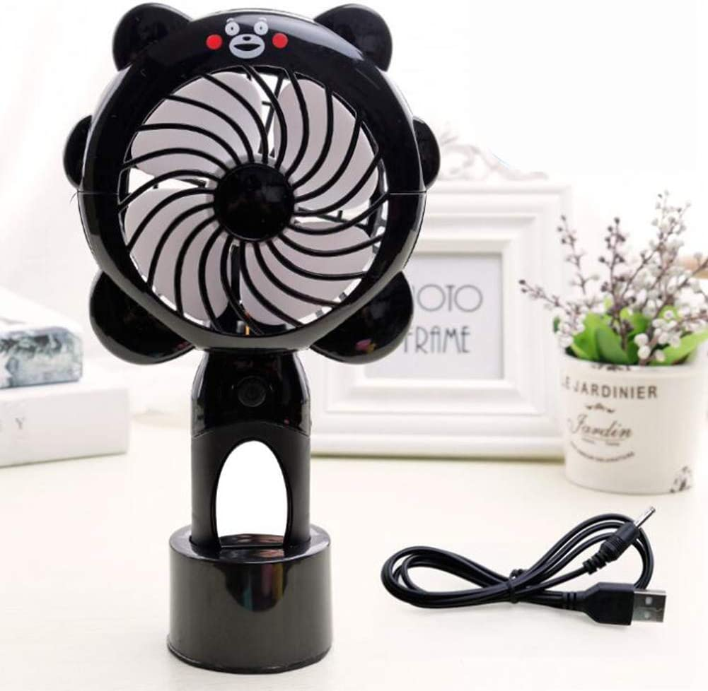 RONSHIN Wireless Fan-Cooling FanWireless Fan,Cartoon Shape Mirror Surface USB Charging Fan with Light Black
