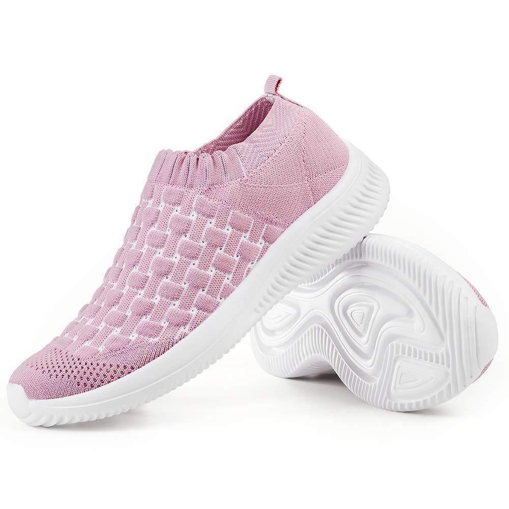 Womens Walking Shoes Sock Sneaker - Lightweight Casual Flat Tennis Shoes Comfort Memory Foam Easy Shoes Pink,10 B(M) US by Slow Man