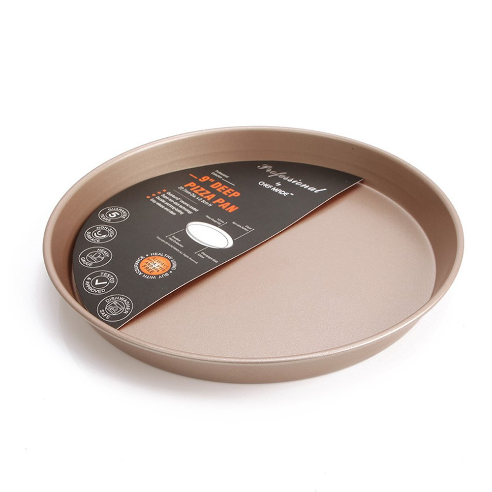 Momugs 10 Inch Round Carbon Steel Baking Pan, Nonstick Bakeware Roasting Tray for Pisa Cookie, Champagne gold