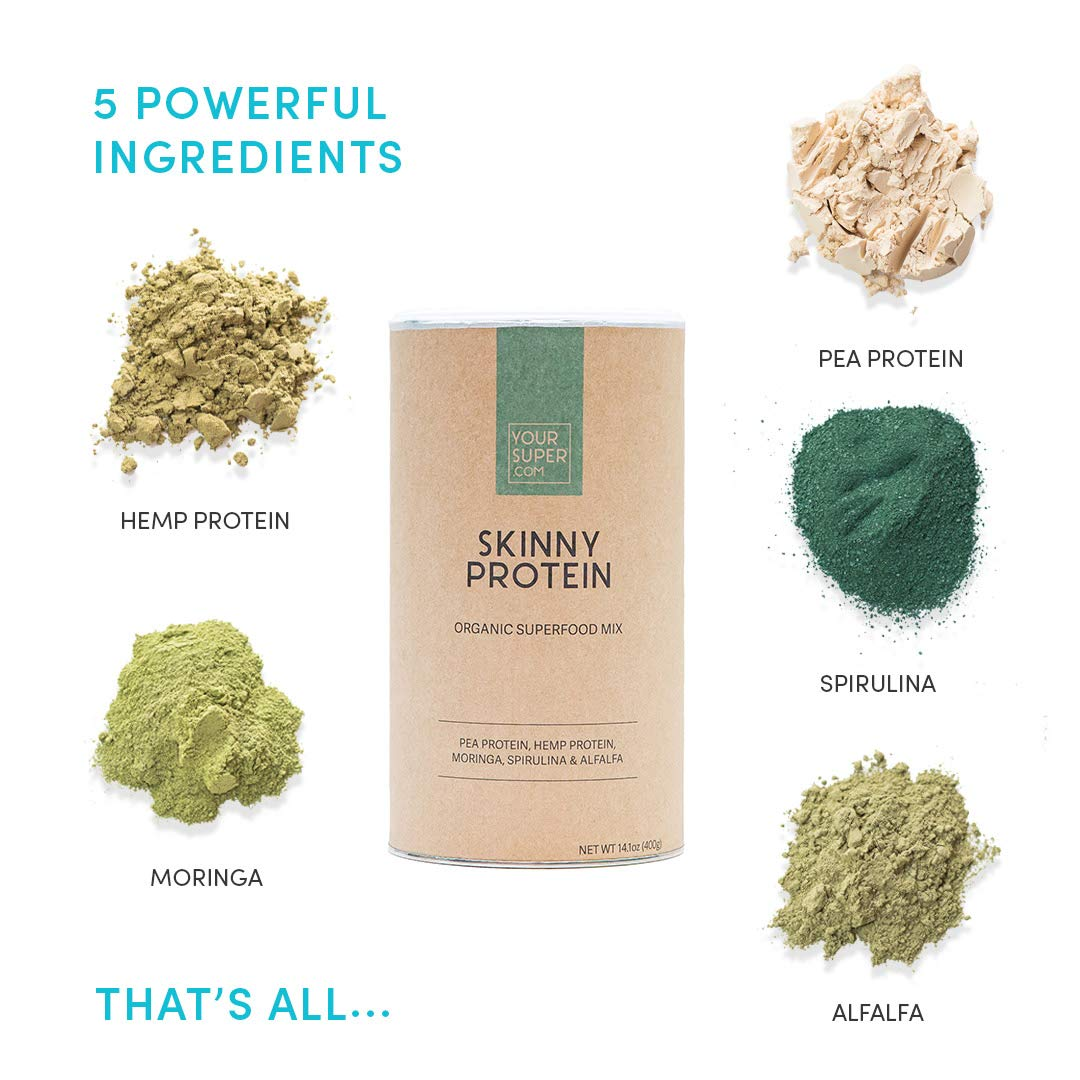Your Superfoods Organic Vegan Skinny Protein Powder - 100% plant based smoothie with hemp and pea protein & green superfoods for digestion and muscle recovery. Supports weight loss management