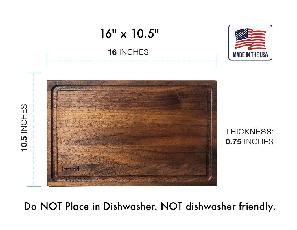 Walnut Wooden Cutting Board by Kitchen Board Maniacs - 16 x 10 1/2 Walnut Wood Cutting Board and Butcher Block Counter top with Juice Drip Groove by Kitchen Board Maniacs (Image #2)