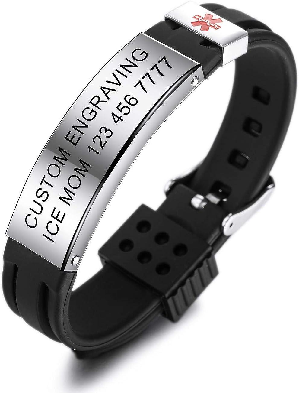 Bundle avec Carte durgence, Titulaire MOWOM Medical Custom Grav/é Silicone R/églable Sport Nom ID Identification Alerte Bracelet M/édical pour Hommes Femmes Enfants en Acier Inoxydable Caoutchouc-
