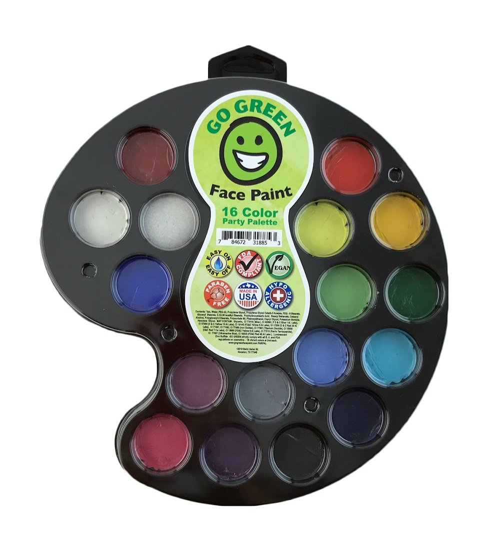 Face Paint Kit for Kids - Water-Based Paints for Many Faces Professional Award Winning Face Painting Set Safe for All Skin Types - 16 Washable Non-Toxic Face Paints Works Well with Stencils & Brushes