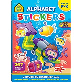 School Zone - Alphabet Stickers Workbook - 64 Pages, Ages 3 to 6, Preschool to Kindergarten, ABCs, Printing Letters, Matching, and More (School Zone Stuck on Learning® Book Series)