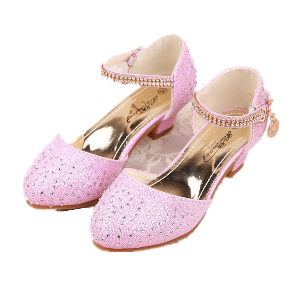 pit4tk Kids Girls Mary Jane Wedding Party Shoes Glitter Bridesmaids Low Heels Princess Dress Shoes(Pink 29/11.5 M US Little Kid)