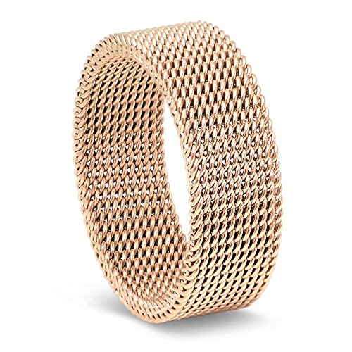 Milo Bruno 8MM Stainless Steel Mesh Ring (Rose Gold) - 9 - Mesh Yellow Ring