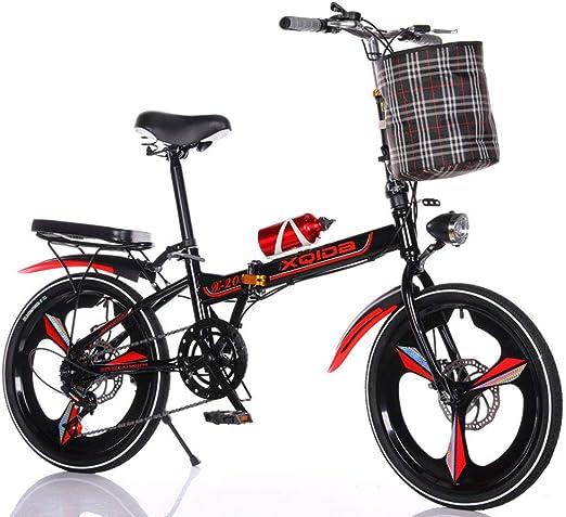 DPGPLP Cambio De Bicicleta Plegable De 20 Pulgadas - Bicicleta para Hombres Y Mujeres - Frenos De Disco Adultos Ultraligeros Niños Estudiantes Portátiles con Bicicleta Pequeña,Rojo,20inchonewheel: Amazon.es: Hogar