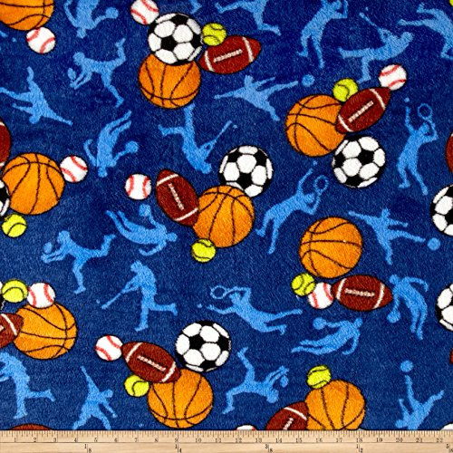 Dark Blue Fleece Fabric (Whisper Plush Fleece All Sports Dark Blue Fabric By The)