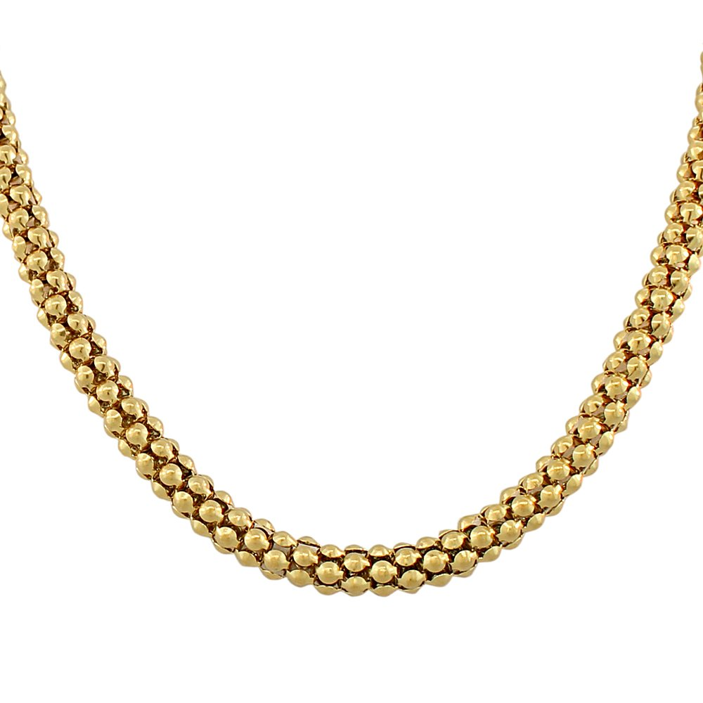 EDFORCE Stainless Steel Gold-Tone Link Chain Caviar Womens Necklace by EDFORCE
