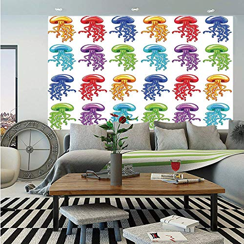 (SoSung Jellyfish Wall Mural,Colorful Jellyfish Collection Artwork with Vibrant Colors Childish Design Print,Self-Adhesive Large Wallpaper for Home Decor 55x78 inches,Red Yellow Blue)