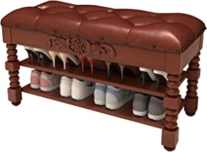 Shoe Bench, Solid Wood Shoe Rack Bench Rustic Storage Bench 2 Layer with Storage for Entryway Bathroom Living Corridor 39.3