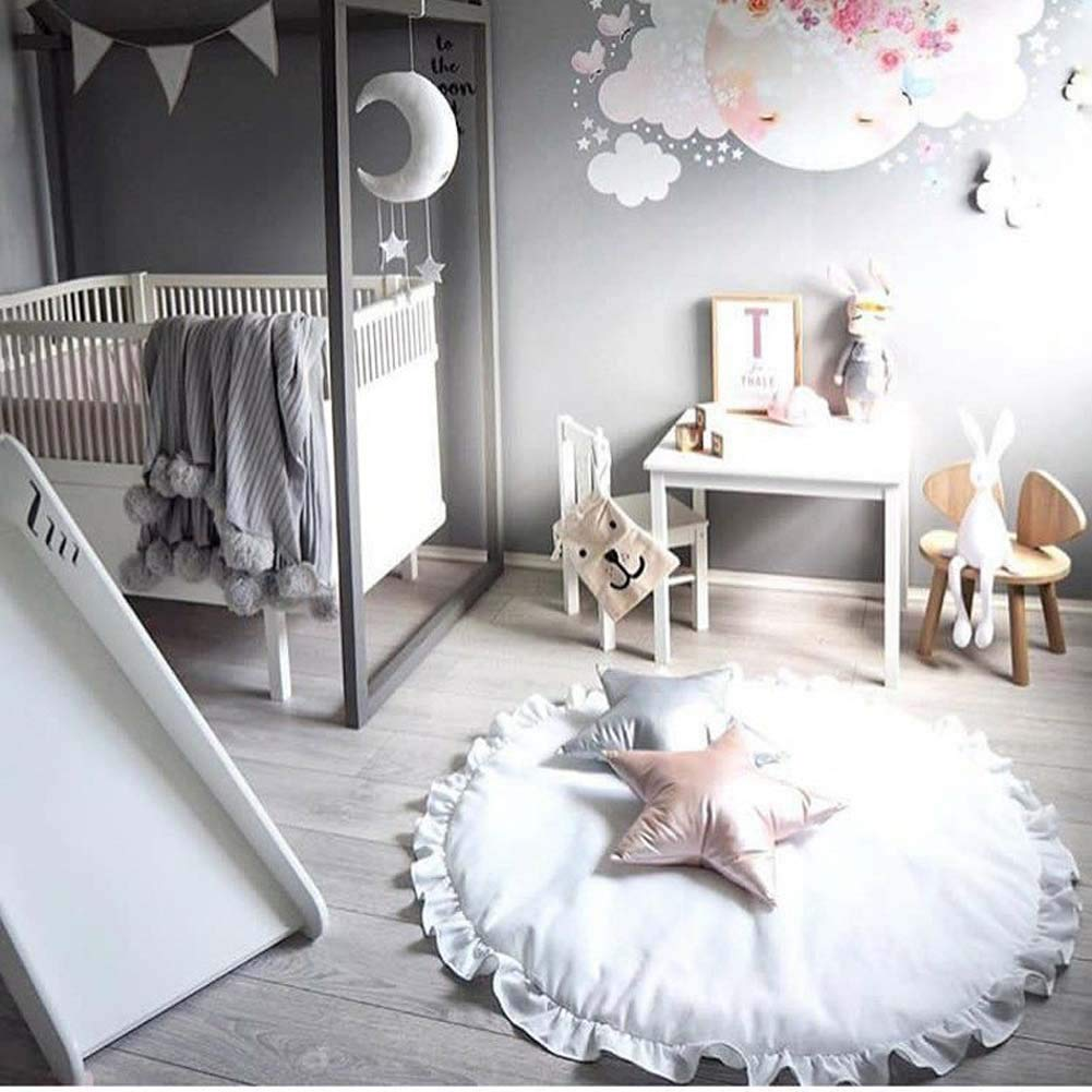 HOUTBY Round Carpet Sweet Baby Playmat Kid Rug Cartoon Color Soft Comfortable Play Mat Baby Room Decoration Light Gray