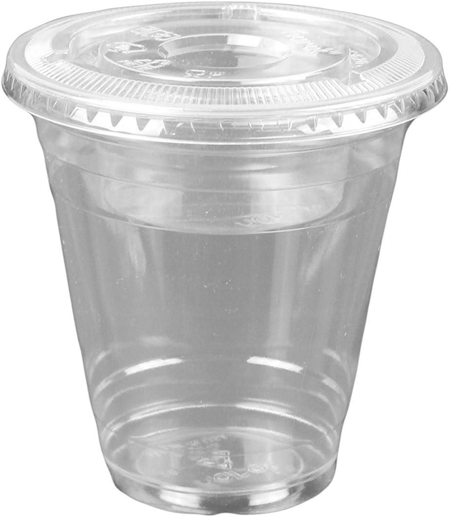 12oz Clear Plastic Cups w/ 4oz Parfait Insert & Lids (3-piece) Dessert Cups (100 Count, Flat Lids - No Hole)