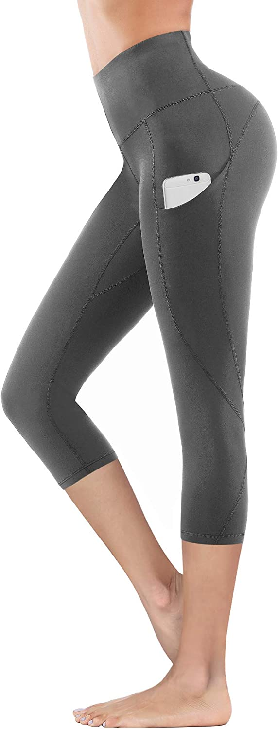 4 Ways Stretch Workout Running Yoga Leggings Capris Grey, Large Yoga Pants with Pockets Tummy Control Lingswallow High Waist Yoga Pants