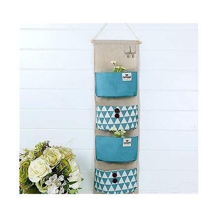 Borsa portaoggetti da parete colorato in stoffa Organizzatore da Appendere con 4 tasche-Tipo A