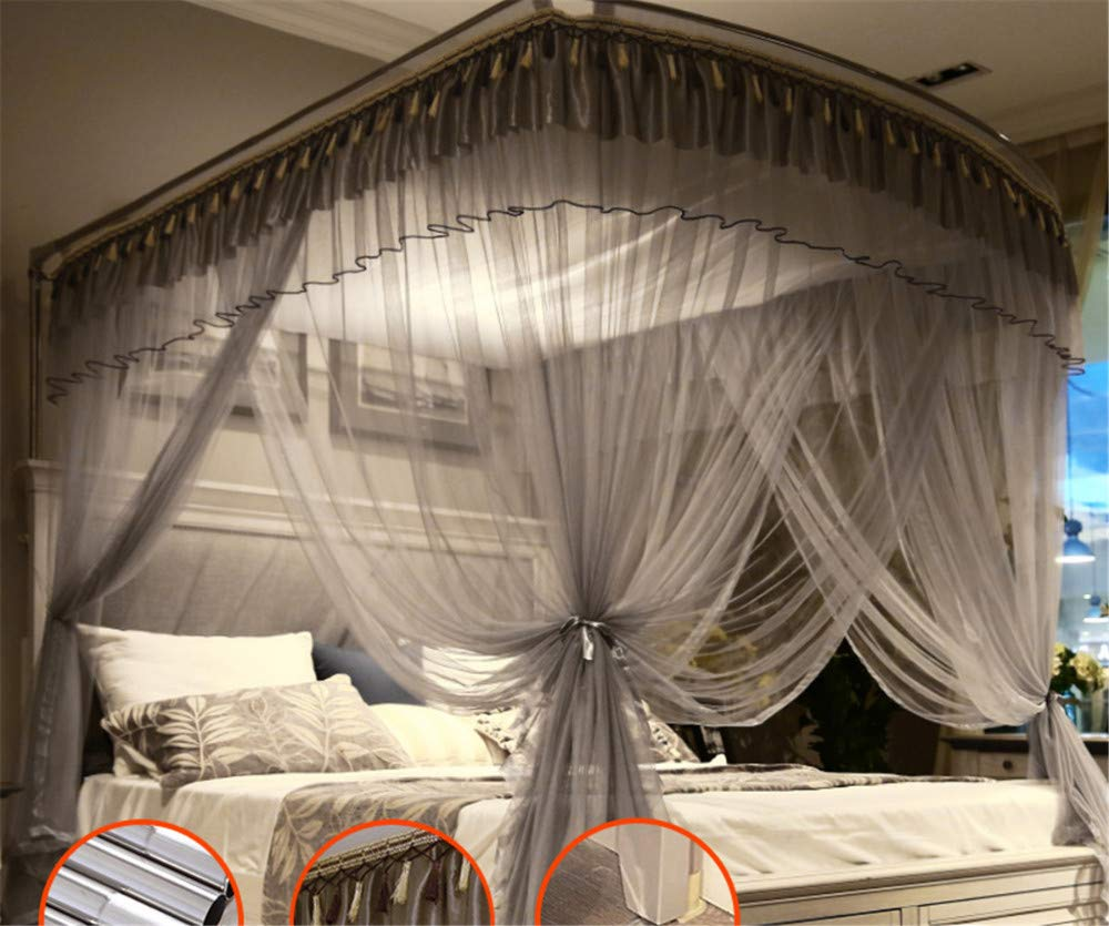 Mosquito net Indoor Mosquito net Outdoor Mosquito net Travel Mosquito net Anti-Mosquito Insect net Palace Mosquito net Bedroom Decoration, Gray, L (87-210Adjustment) W150cm by RFVBNM Mosquito net (Image #5)