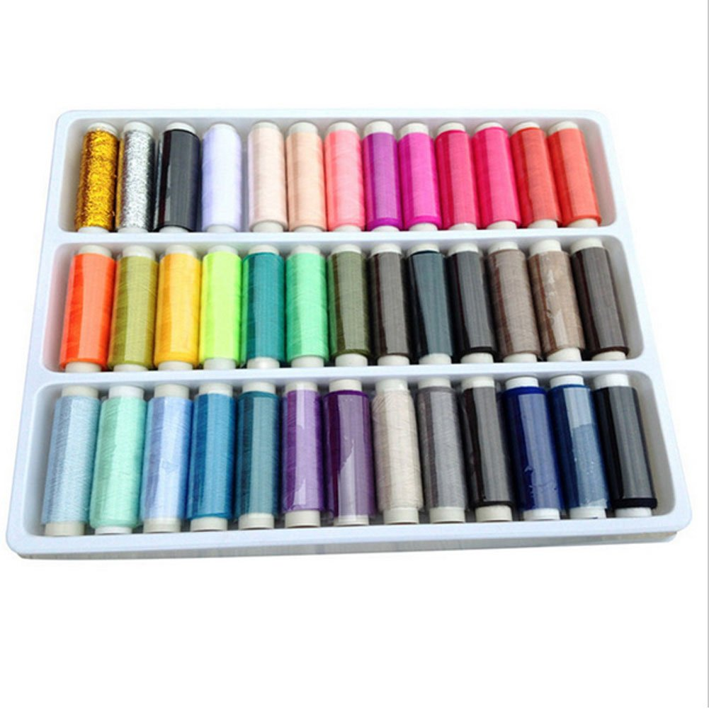 OKCO 39Spools Sewing Thread Set Each 200Yards,Free gift sewing needle box(Fixed color)