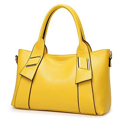 f1a38383c58 TIBES Fashion Handbags for Women PU Leather Shoulder Bag Messenger Yellow  Tote Purse