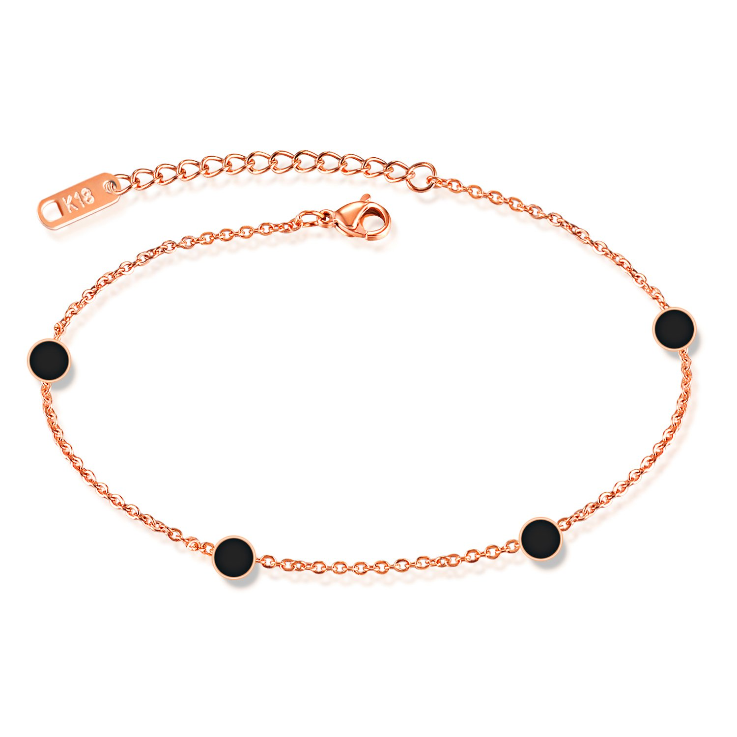 LOHOME Fashion Anklets Rose Gold Tone Black Circle Charm Foot Chain for Women L8.5+1.9""
