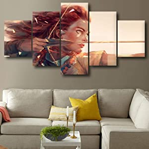 Home Decor Hd Prints Pictures 5 Pieces Horizon Zero Dawn Poster Wall Artwork Modular Game Painting Canvas for Living Room40x60 40x80 40x100cm no Frame