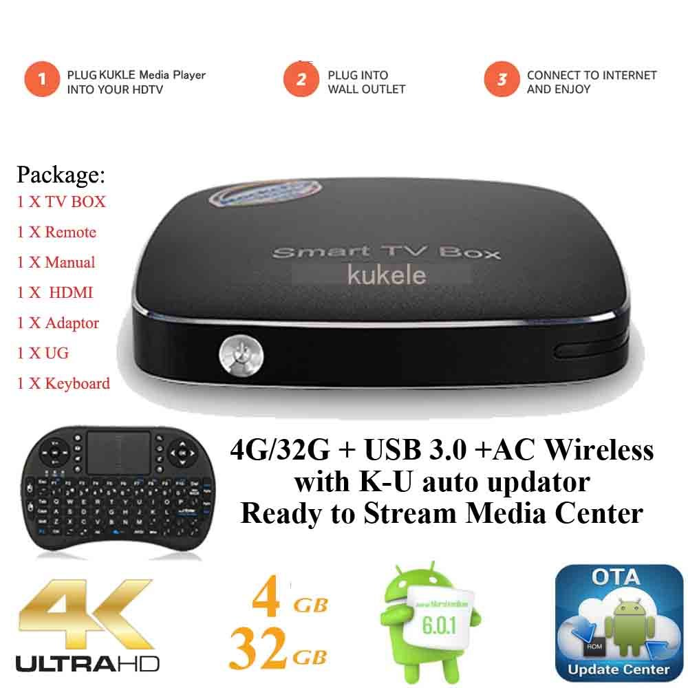 KUKELE Pro 4GB/32GB Strongest Android TV Box A6, Ready to Stream Media Center, Wireless Keyboard