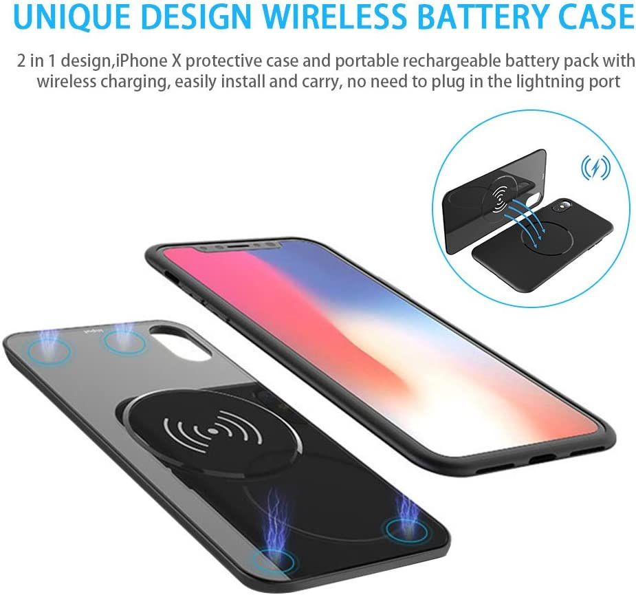 6000mAh Extended Portable Lightning Port Wireless Charging Case for iPhone X AQESO iPhoneX Wireless Rechargeable Battery Case