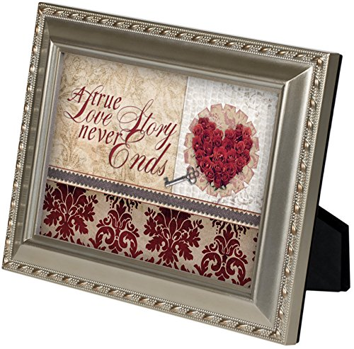 A True Love Story Never Ends Champagne Silver 5 x 7 inch Framed Art with Easel Back -