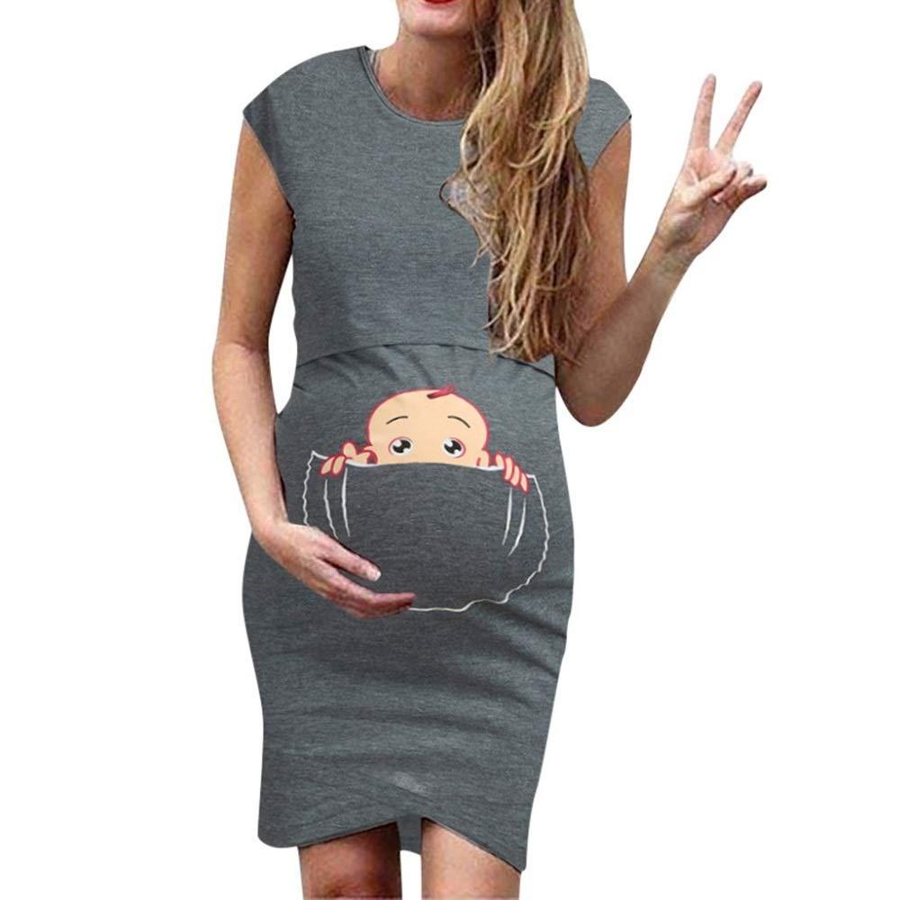 Jeash Women's Maternity Sleeveless Cartoon Cute Print Nursing Dress for Breastfeeding (Dark Gray, XL) by Jeash