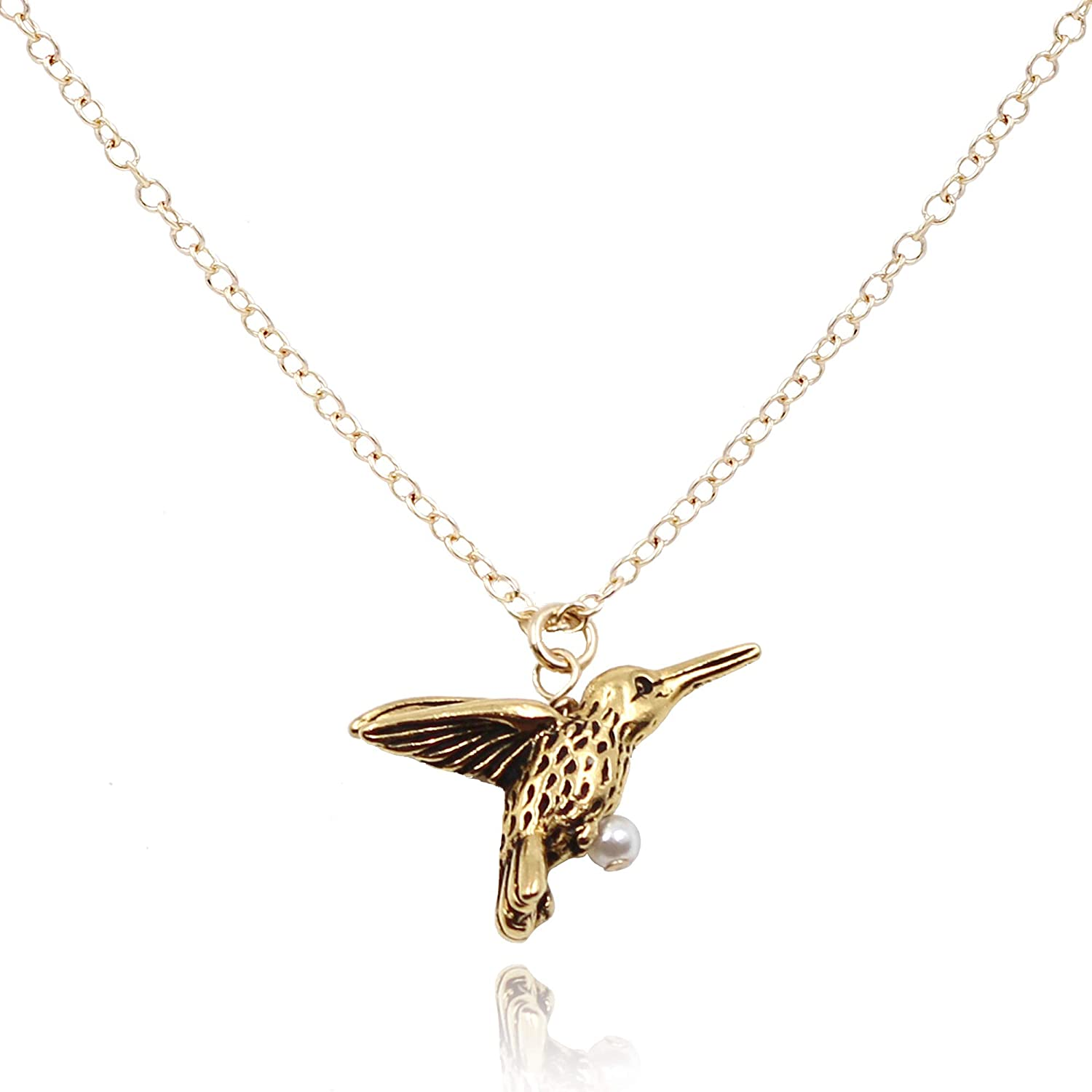 14K Gold Filled Chain MaeMae Hummingbird Pendant Necklace 16-18