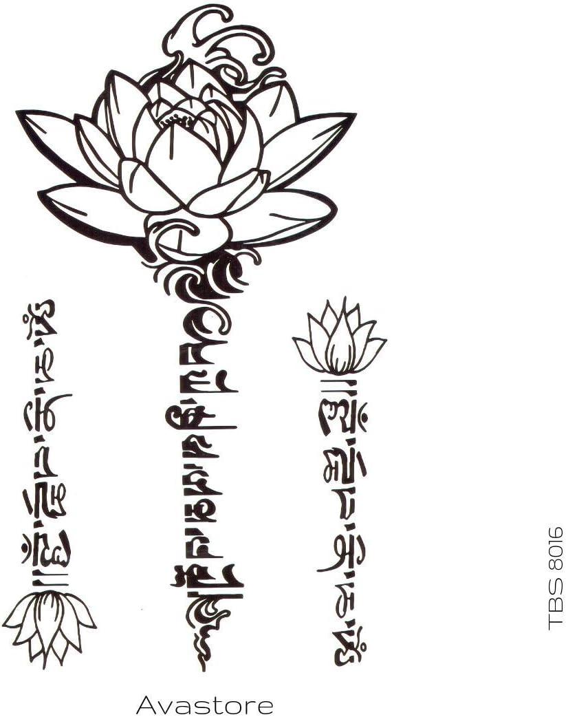 Avastore - Tatuaje temporal, diseño de flor de loto: Amazon.es ...