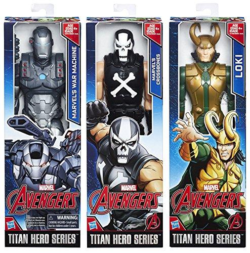 Marvel Titans Villains 3-Pack Series Loki + War Machine VS Crossbones Avengers Action Figures