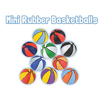 "HOWBOUTDIS (2 Pack) of Assorted Color Mini 7"" Rubber Basketballs, Indoor or Outdoor Game Balls, Great Party Favor, Perfect for Beginners: Toys & Games"