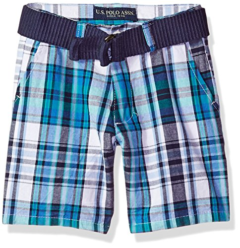 (U.S. Polo Assn. Boys' Toddler Short, Walking Plaid Flight Blue, 2T)