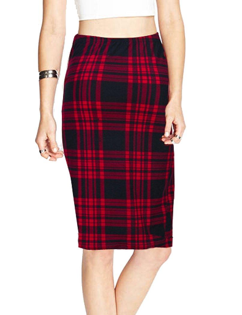 TEERFU Womens High Waist Plaid Bodycon Stretchy Elastic Office Midi Pencil Skirt