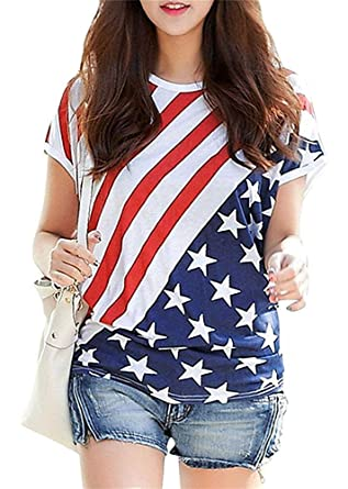 c3f758a7 Women Patriotic Shirts American Flag Tops 4th of July T Shirt Short Sleeve  Crewneck Summer Ladies USA Flag Blouse
