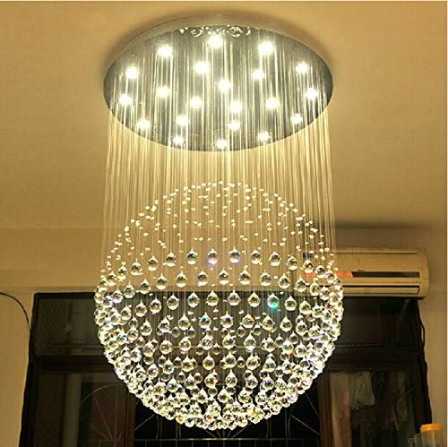 7PM W31.5″ X H47.2″ Sphere Raindrop Clear K9 Crystal Chandelier