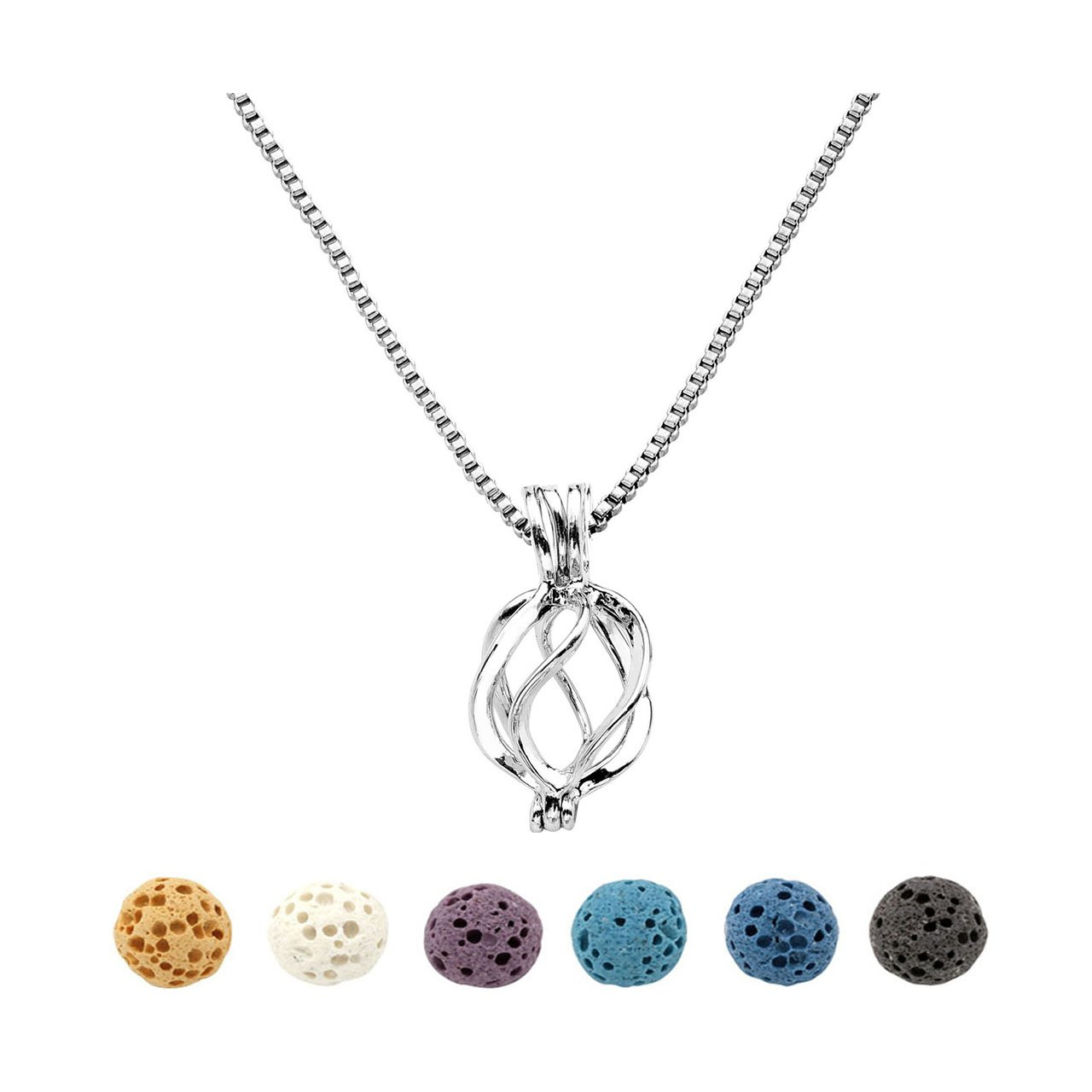 Top Plaza Natural Lava Rock Stone Aromatherapy Essential Oil Diffuser Necklace Silver Locket Pendant With 6 Dyed Lava Beads(Twisted Round) ATPUS65699