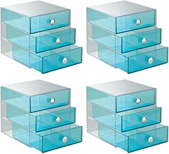 InterDesign 3 Drawer Storage Organizer for Cosmetics, Makeup, Beauty Products and Office Supplies, 4 Pack, Aqua