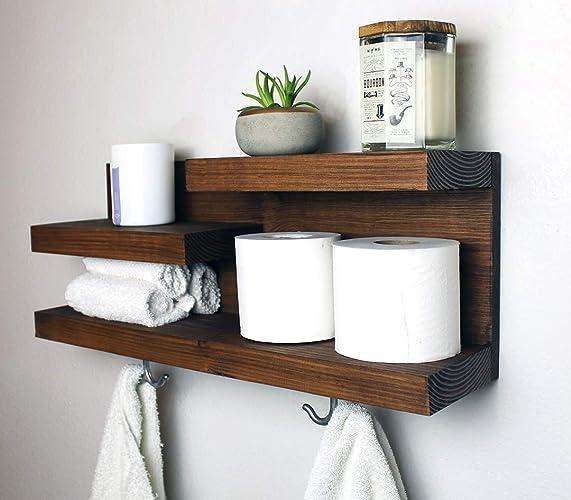 Amazon.com: Modern Farmhouse Bathroom Shelf with Towel Hooks: Handmade